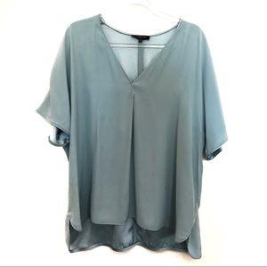 Lafayette 148 100% Silk Blue Blouse Size XXL